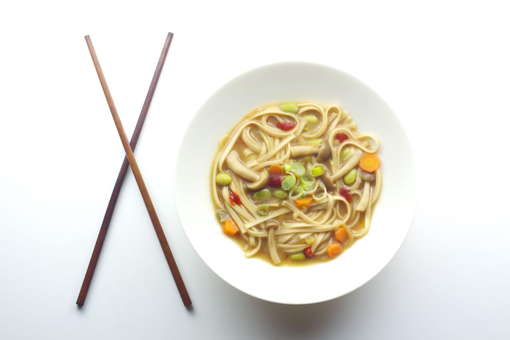 vegan vegetable udon soup miso carrots mushrooms edamame bored vegetarian